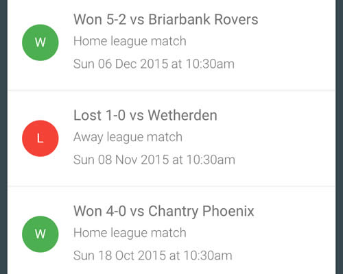 sunday league results